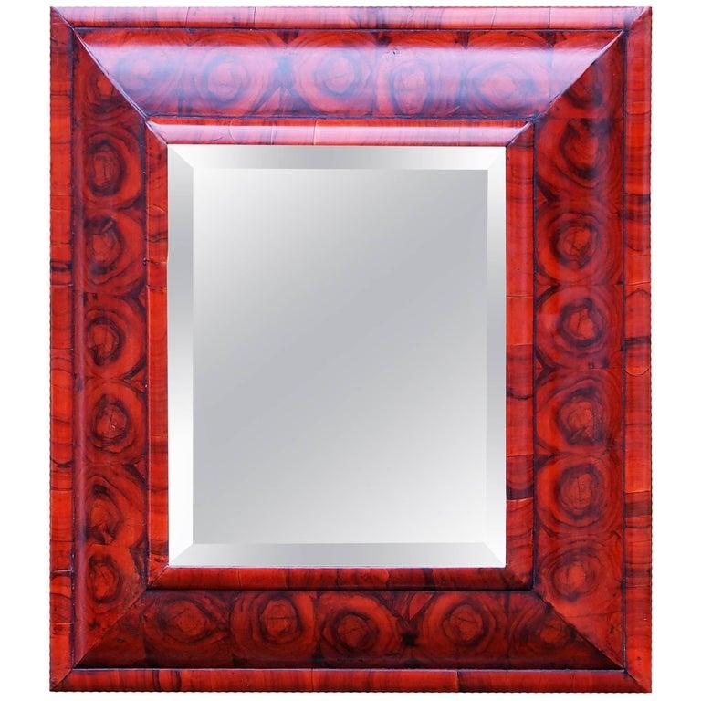 Antique 17th Century Walnut Cushion Mirror
