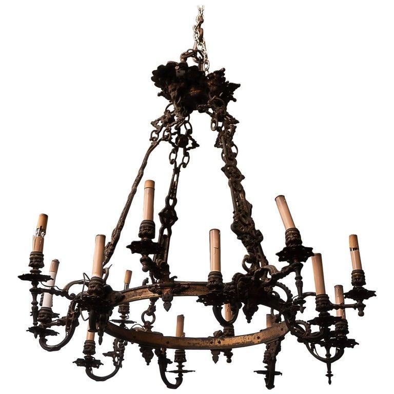 Louis Philippe Bronze Chandelier For Sale