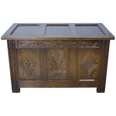 Carved English Oak Three-Panel Box or Coffer
