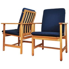Pair of Børge Mogensen Oak Lounge Chairs Model 2257 for Fredericia Stolefabrik