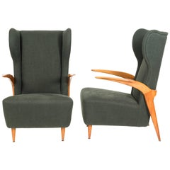 Two Italian Vintage Armchairs Cherrywood Structure Attributed to Enrico Ciuti