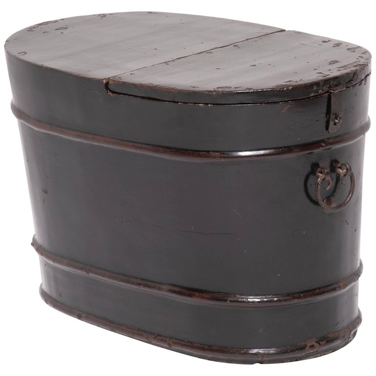 19th Century Chinese Black Lacquer Oval Trunk