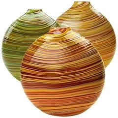 Swirl Series Set of Three, Flat Round Handblown Glass Vases