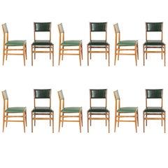 12 Vintage Italian Leggere Chairs in Ashtree Wood by Gio Ponti, circa 1954