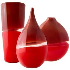 Two-Tone Series, Set of Three, Handblown Glass Vases