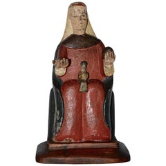 Late 19th Century Hand-Carved Polychromed Montserrat Virgin Statue