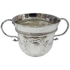 18th Century Britannia Standard Silver Porringer, Antique Queen Anne