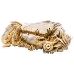 Large North American Moose Antler Carving of a Crab on a Coral Seabed
