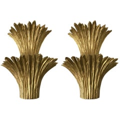 Pair of Bronze Cascade Sconces by Maison Charles, France, 1970s