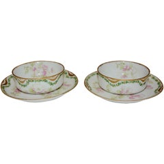 Pair of Haviland & Co. Limoges France Cream Soup Bowl and Saucer Apple Blossom