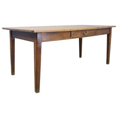 Antique French Farm Table with Pine Top and Chestnut Base