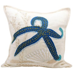 Embroidered Linen Starfish Pillow