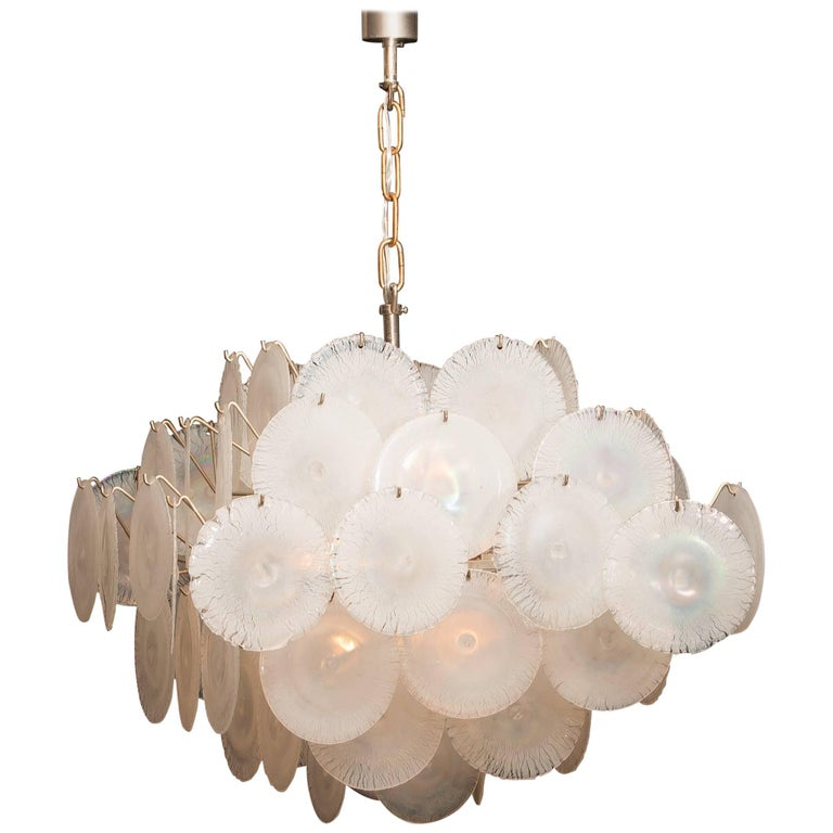 Gino Vistosi Chandelier with White / Pearl Murano Crystal Discs For Sale