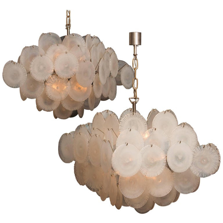 Set of Two Gino Vistosi Chandeliers with White / Pearl Murano Crystal Discs For Sale