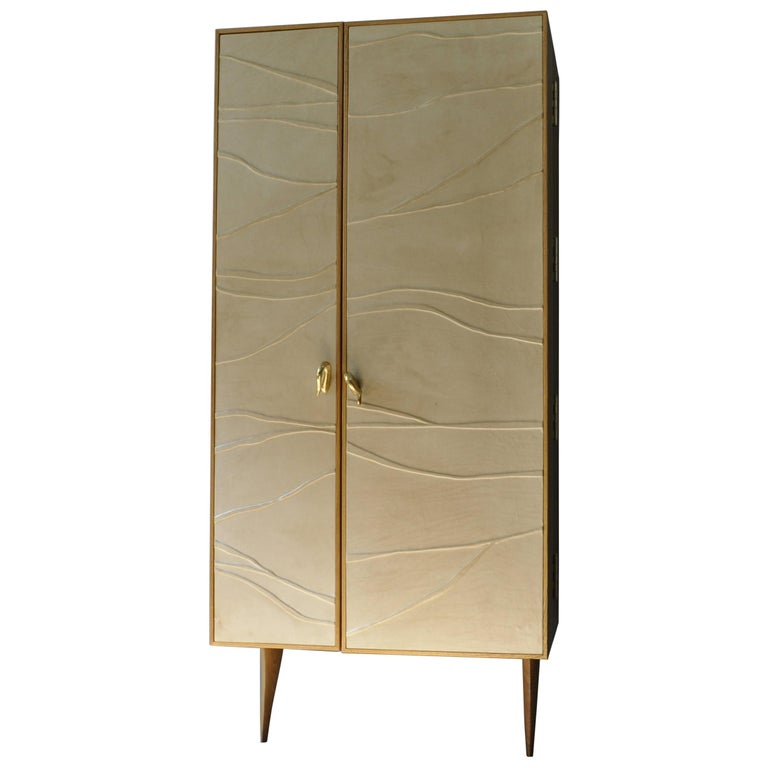 Modern, Kryptos, Bookcase Handcrafted in Full-Grain Leather in Bas-Relief For Sale