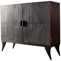 Modern, Java, Wardrobe in Full-Grain Leather, Handcrafted with Bas-Relief