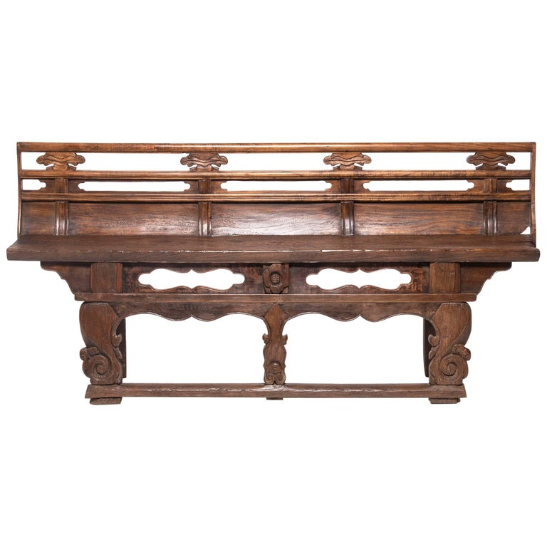19th Century Chinese Carved Village Bench