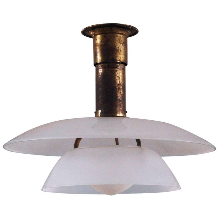 Poul Henningsen 4/4 brass pendant with white frosted shades, ca. 1926