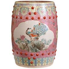 Mid-20th Century Asian Turquoise and White Glazed Ceramic Garden Stool