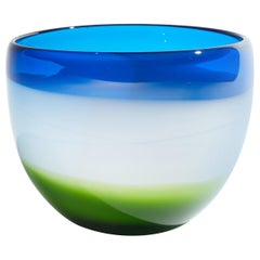 Vintage Blue White and Green Murano Glass Bowl