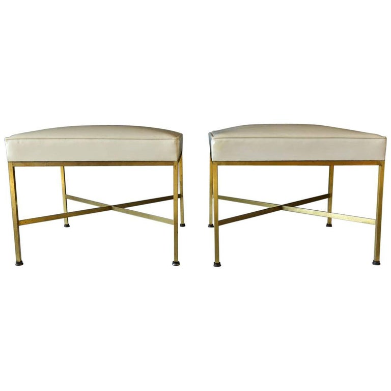 Pair of Paul McCobb Brass X-Base Ottomans, circa 1955