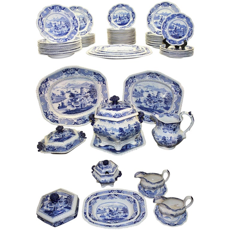 Ridgway Staffordshire India Temple Transferware Partial Dinner Service 80 Pcs