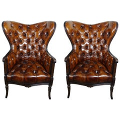 French Leather Tufted Wingback Armchairs, Pair