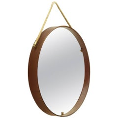 Leather and Brass Round Mirror by Pizzetti, 1950s