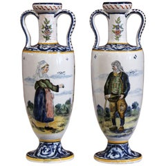 Pair of 19th Century French Hand-Painted Brittany Vases Signed HB Quimper
