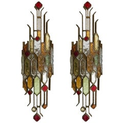 Pair of Sconces Hammered Glass by Longobard, Italy, 1970s