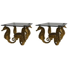 Pair of Art Deco Side Tables Seahorse Form in Gold Finish, France, circa 1960s