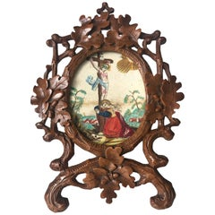 Antique Quality Carved Wooden Black Forest Miniature Table Picture Frame / Easel