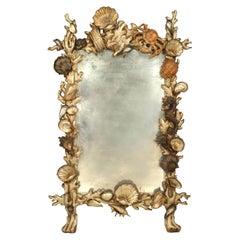 Italian Venetian Grotto '19th Century' Silver Gilt and Polychromed Wall Mirror