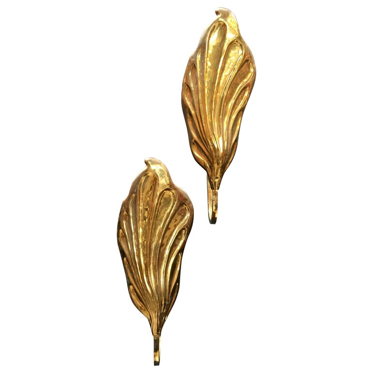 Pair of Italian 20th Century Sconces in Brass by Tommaso Barbi