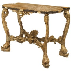Venetian Grotto Style '19th Century' Silver Gilt/Polychromed Console Table