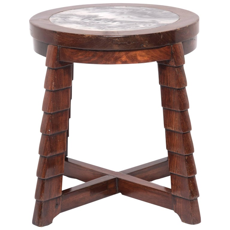 Chinese Art Deco Marble-Top Low Table For Sale