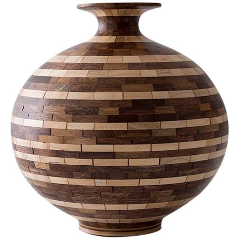 Contemporary American Striped Wooden Vase, Walnut, Maple, Handmade, in Stock