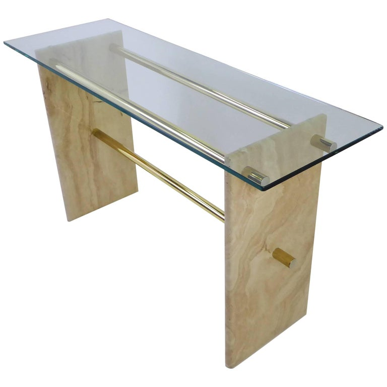 1970s Travertine and Brass Glass Top Console Sofa Table For Sale