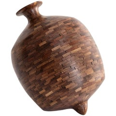 Contemporary American Wooden Top Vase, Walnut, Handmade, Sculpture, in Stock