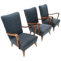 Italian Wooden Armrest Armchair, 1940s, Set of Three