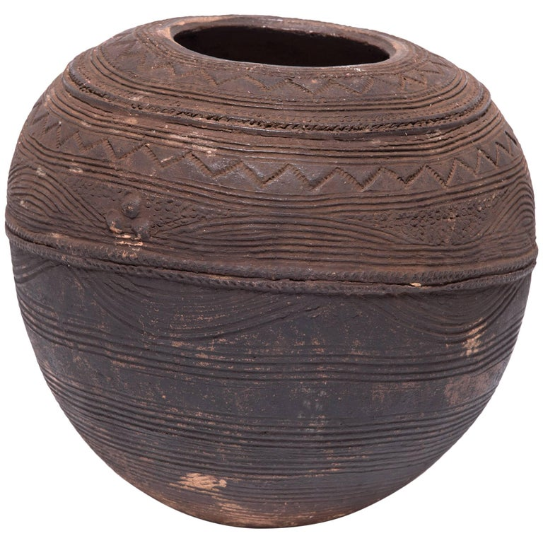 Nigerian Nupe Incised Water Vessel For Sale