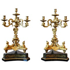 Splendid Pair of Candelabras, Gilt-Bronze, Louis XIV Style, France, circa 1880