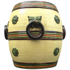 Chic 1960s Italian Chinoiserie Ceramic Garden Seat