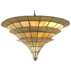 Fabulous 1960s Italian Chinoiserie Shell and Parcel-Gilt Chandelier