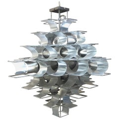 Large Sculptural 1970s French Chandelier, Max Sauze