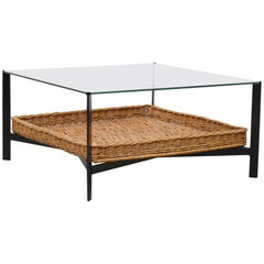 Midcentury Glass and Rattan Coffee Table
