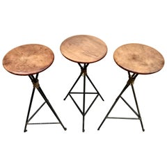 Chic Set of Three 1950s French Walnut and Wrought Iron Barstools