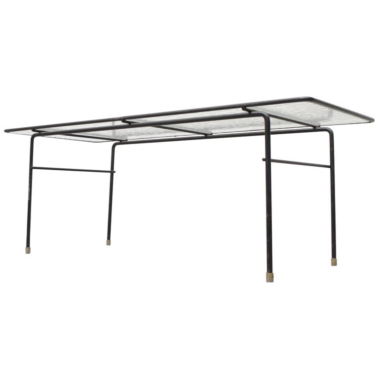 Rare AR Cordemeyer Glass and Metal Coffee Table for Gispen