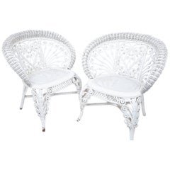 Heywood Company Victorian White Wicker Parlor Armchair Set