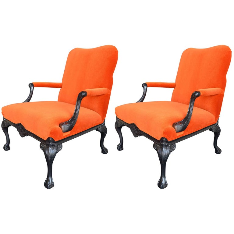 Pair of Chippendale Style Chairs For Sale